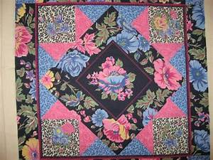 Pink Blue Flowers Cheater Fabric Pillow Panel Set Of Two