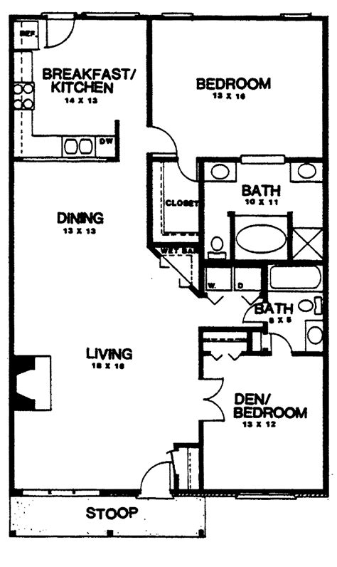 2 Bedroom 1 Bath Floor Plans by Two Bedroom House Plans Home Plans Homepw03155 1 350