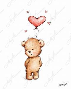 The drawing of cute teddy bear with the red heart balloon ...