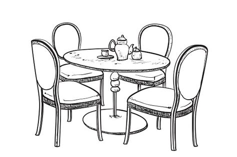 dining table with food clipart black and white chairs drawing at getdrawings free for personal use