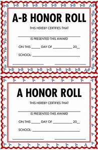A and b honor roll for A b honor roll certificate template
