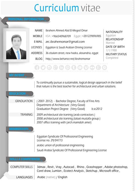 architectural resume quot cv