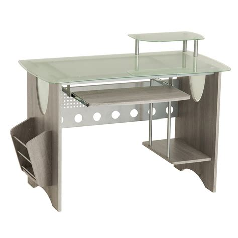 glass desk with storage stylish frosted glass top computer desk with storage grey
