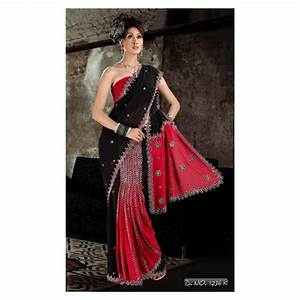 acheter Sari indien brodé femme couleur rouge et noir