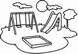 Clipart Playground Clip Slide Swing Equipment Kindergarten Colouring Play sketch template