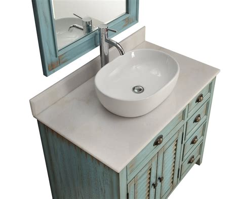 "36"" Inch Bathroom Vanity Coastal Beach Style White Vessel"