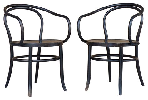 pair of thonet bentwood cafe chairs modernism