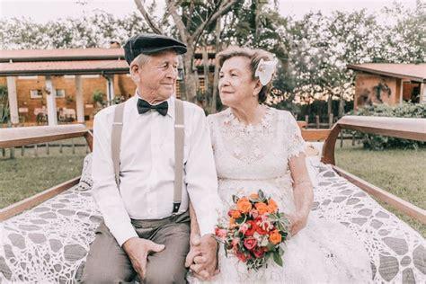 elderly couple  love renew  vows   years