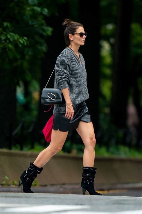 katie holmes  silky black shorts  slouchy boots
