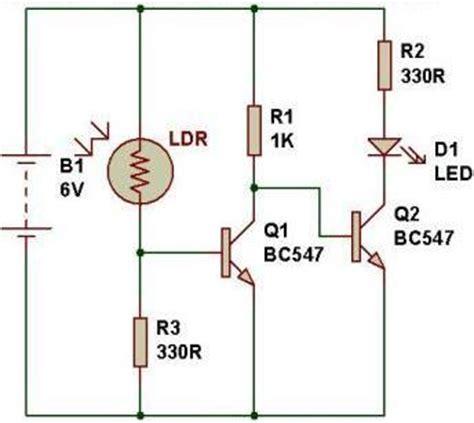 Dark Sensor Using Two Transistors Buildcircuit