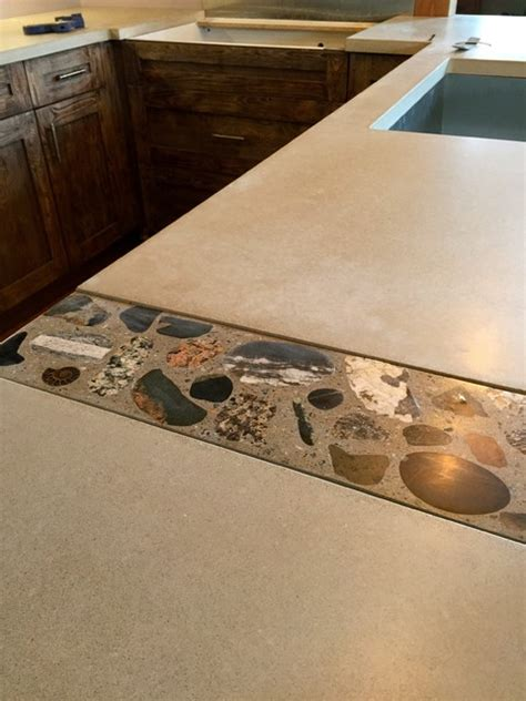custom concrete countertop with inlay industrial