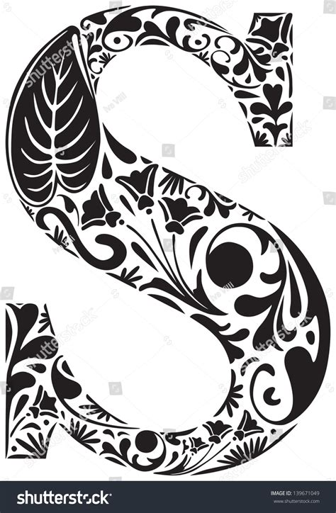 floral initial capital letter  stock vector  shutterstock