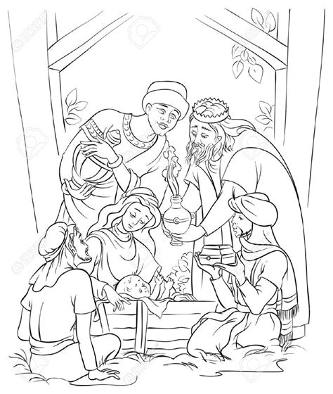Jesus Mary Joseph And The Three Kings Coloring Page
