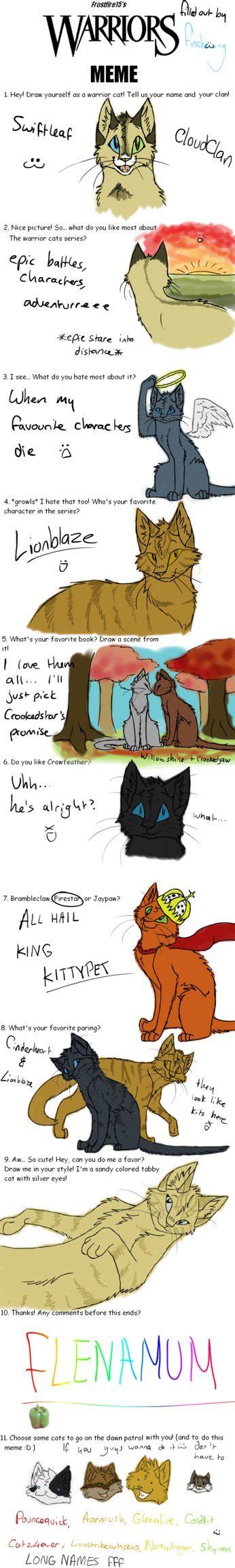 Warrior Cats Memes - warrior cats meme 6 12 11 by finchwing on deviantart