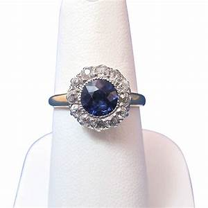 vintage estate sapphire diamond birthstone engagement With wedding day rings