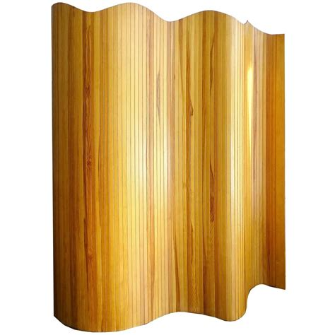 wood screen divider french mid century modernist undulating wood tambour room divider screen for sale at 1stdibs
