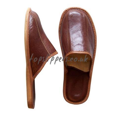 buy brown leather house slippers mules  men model noj
