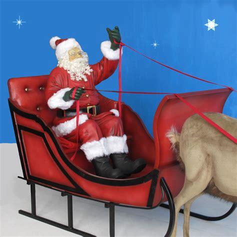 life size santa sleigh 2 reindeer 11 ft w