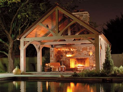 pavilion outdoor fireplace  large scale   simple