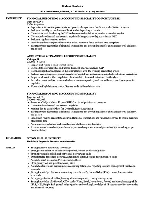 financial reporting accounting specialist resume sles