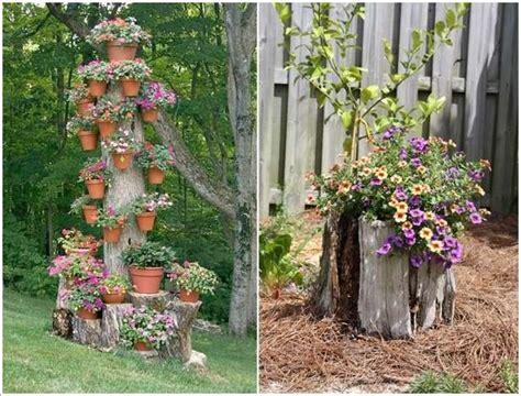creative ideas  decorate  tree trunks  stumps