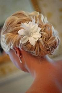 Custom Handmade Hair Clip Pin White Flower Feather Wedding