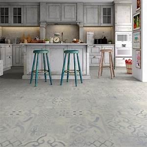 Carreaux De Ciment Adhesif Sol : sol stratifi effet carreaux ciment bleu mix effet ~ Premium-room.com Idées de Décoration