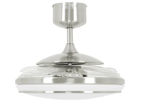 fanaway evo1 prevail brushed chrome ceiling fan with clear retractable blades and led light and