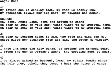 Country, Southern And Bluegrass Gospel Song Angel Band Lyrics
