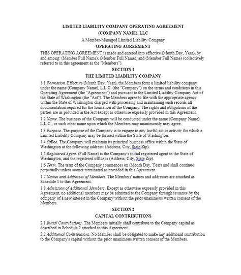 Llc Operating Agreement Template 30 Professional Llc Operating Agreement Templates