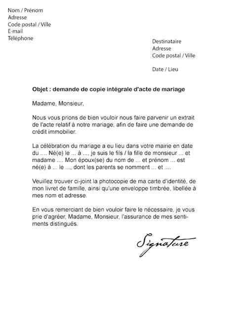 exemple acte de mariage lettre de demande d acte de mariage mod 232 le de lettre