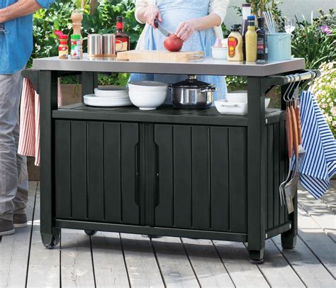 keter unity bbq storagework table  sydney garden products
