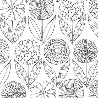 Coloring Flowers Mindfulness Pages Colouring Pretty Stress