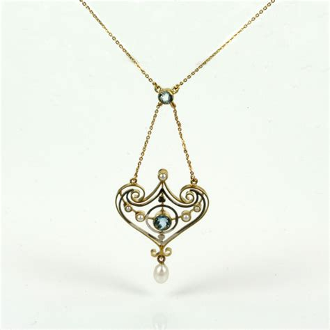 buy deco gold platinum aquamarine and pearl necklace sold items sold jewellery sydney