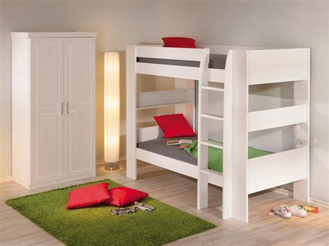 Litera cama de pino lacada en color blanco para jóvenes y