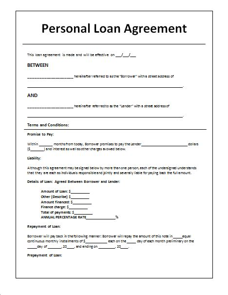 document templates loan agreement template  word