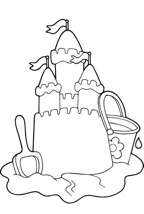Coloring With Sand by Beautiful Sand Castle Picture Coloring Page
