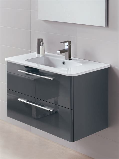 mara gloss grey cm vanity unit  drawer  basin wall