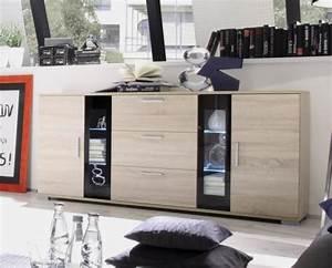 Sonoma Eiche Vitrine : wow modernes led sideboard eiche sonoma schwarz vitrine highboard anrichte ebay ~ Markanthonyermac.com Haus und Dekorationen