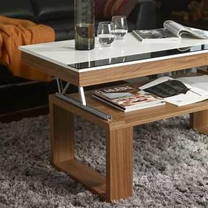 Table Chene Blanchi : table basse relevable plateau blanc et pied ch ne blanchi meuble ~ Teatrodelosmanantiales.com Idées de Décoration