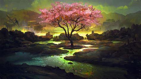 pink tree art wallpaperscom