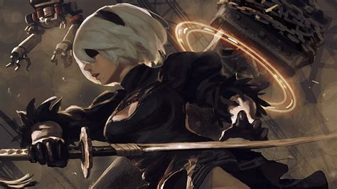 Nier Automata Animated Wallpaper - white hair 2b nier automata nier automata katana