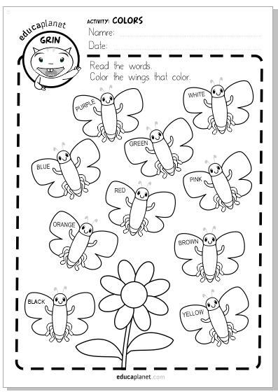 Colorea mariposas infantil GRATIS aprender colores