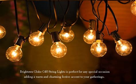50ft G40 Globe String Lights With Clear Bulbs For Indoor