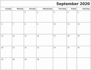 Sept 2020 Calendar Printable September 2020 Calendars To Print