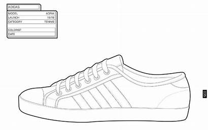 Sneaker Coloring Trainers Line Shoes Pages Adidas