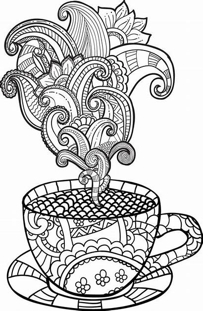 Coloring Tea Coffee Pages Cup Colouring Printable
