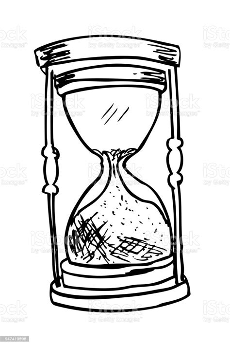 Hand Draw Sketch Of Glass Hour Stock Illustration