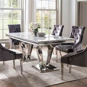 Ernest, 6, Person, Narrow, Dining, Table, Stainless, Steel, U0026, Marble, Top, -, Dining, Tables