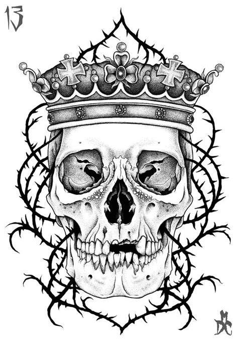 Gallery For Drawings Of Skulls With Crowns | Skull with crown, Sugar skull tattoos, Skull sketch